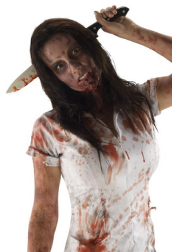 The Walking Dead Costume Accessory Kitchen Knife In Head