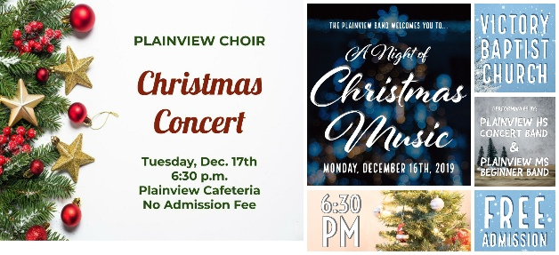 Plainview High School Band & Plainview Choir To Hold Christmas Events