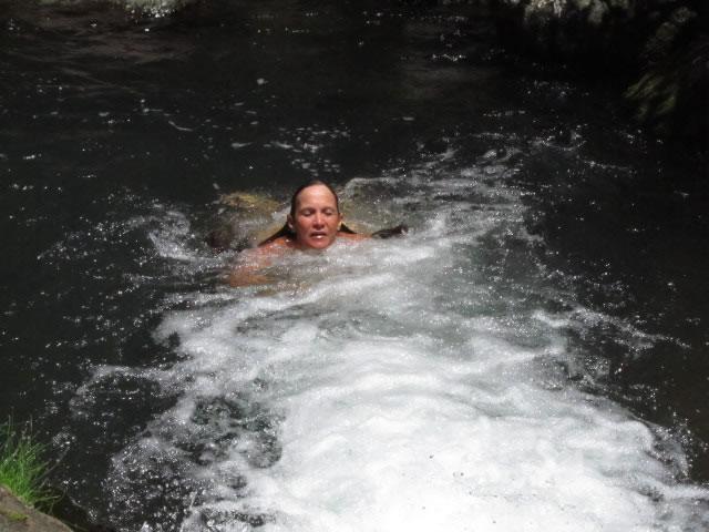 Swim in fresh water jacuzzi pools