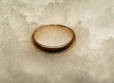 lost ring in snow
