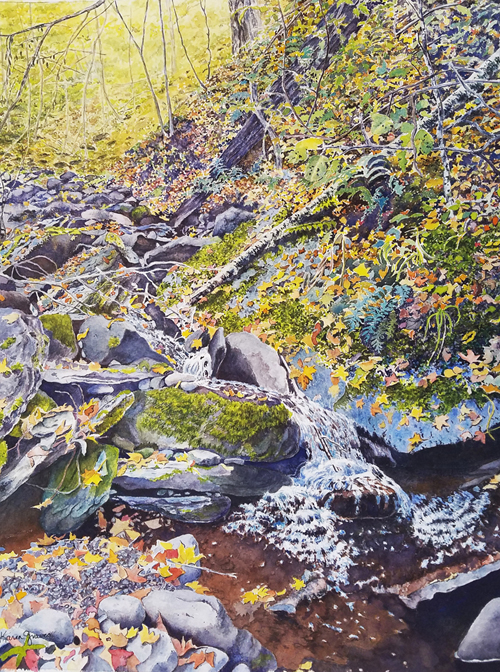 Painting of Stream in the Fall