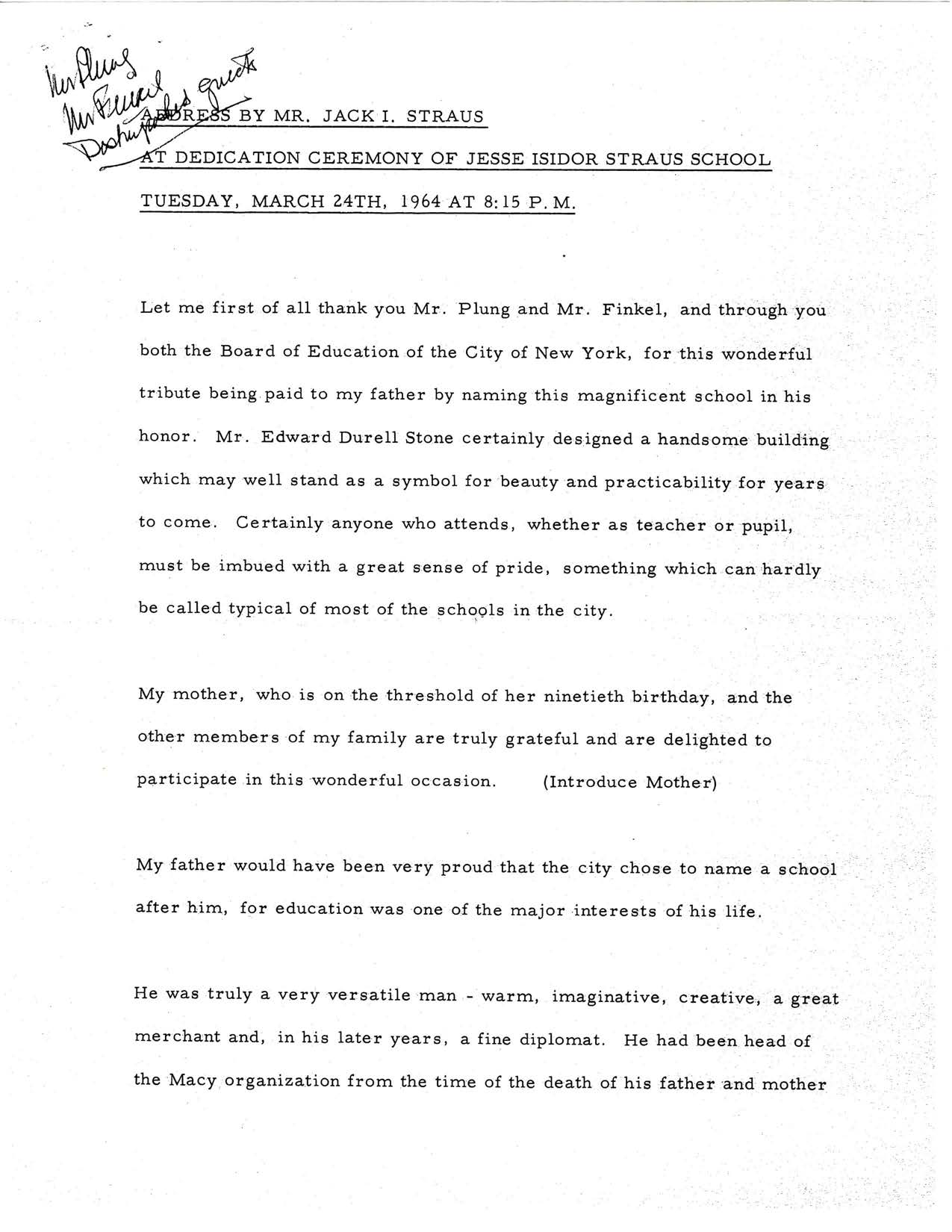 Jack I Straus Dedication Address - 24 March 1964