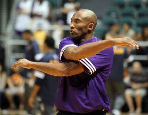 October 4, 2015 - Los Angeles Lakers guard Kobe Bryant #24 warms up prior to preseason action between the Los Angeles Lakers and the Utah Jazz at the Stan Sheriff Center on the campus of the University of Hawaii at Manoa in Honolulu, HI. - Michael Sullivan/CSM