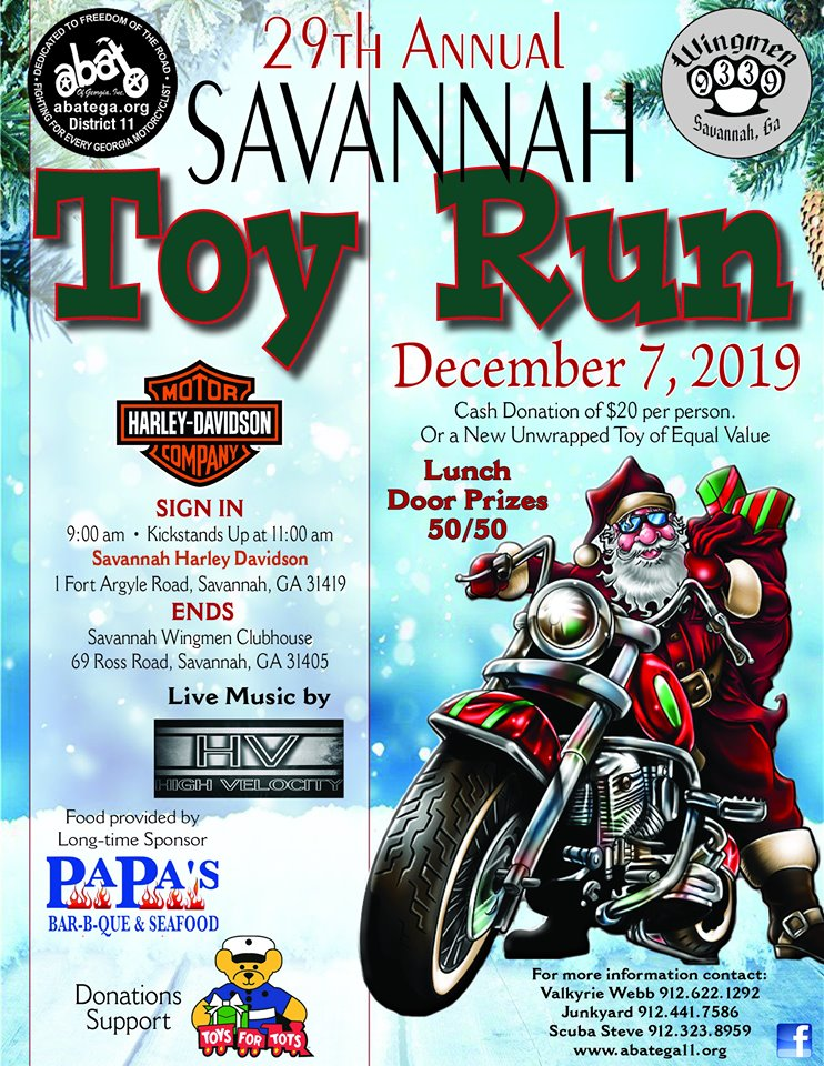 ABATE of Georgia, District 11/Savannah Wingmen Savannah Toy Run @ Savannah Harley-Davidson | Savannah | Georgia | United States