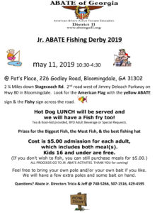 Jr ABATE Fishing Derby @ Pat's Place | Bloomingdale | Georgia | United States