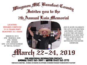 Beaufort County Wingmen MC - 7th Annual Luis Memorial @ Beaufort County Wingmen Clubhouse | Beaufort | South Carolina | United States
