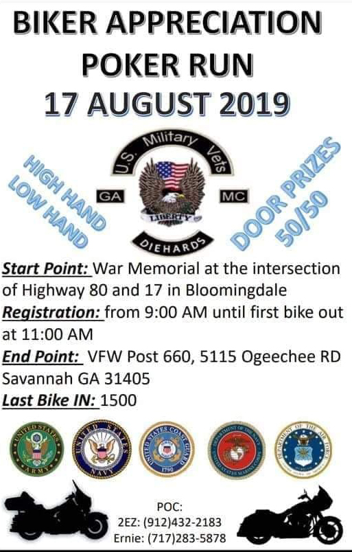 USMV MC - Biker Appreciation Poker Run @ War Memorial | Bloomingdale | Georgia | United States