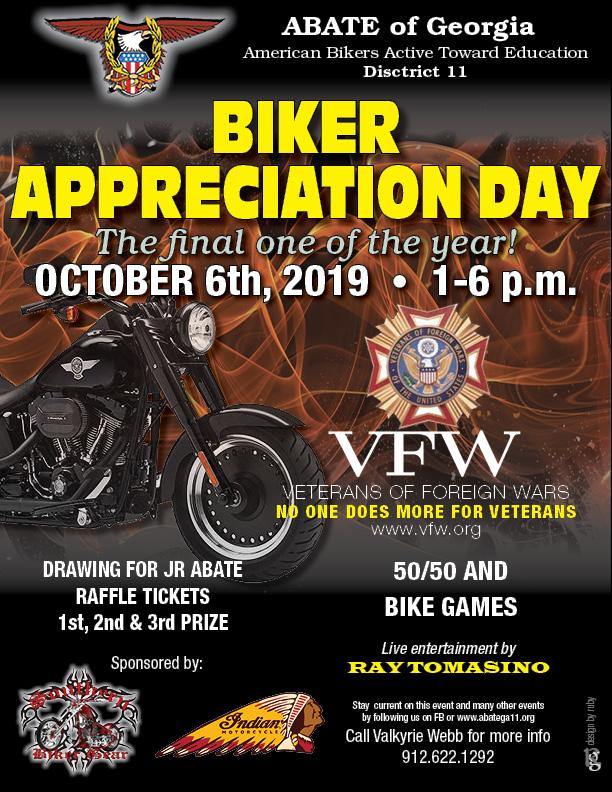 ABATE of Georgia, District 11 - Biker Appreciation Day @ VFW Post 660 | Savannah | Georgia | United States