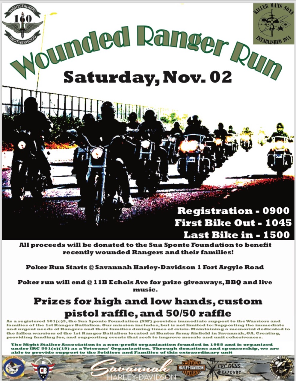 Killer Mans Sons MC/Nightstalkers Brotherhood - Wounded Ranger Run @ Savannah Harley-Davidson | Savannah | Georgia | United States