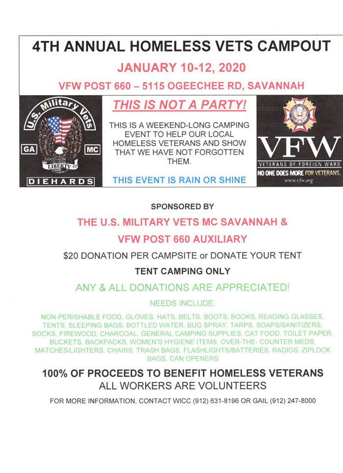 4th Annual Homeless Vets Campout @ VFW Post 660 | Savannah | Georgia | United States