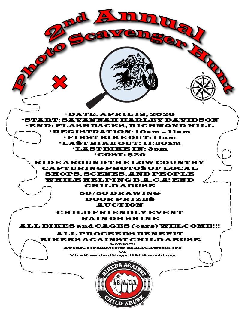 BACA 2nd Annual Photo Scavenger Hunt @ Savannah Harley-Davidson | Savannah | Georgia | United States