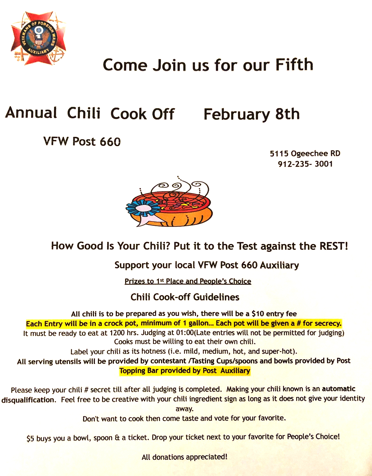 VFW Post 660 Auxiliary - 5th Annual Chili Cook Off @ VFW Post 660 | Savannah | Georgia | United States