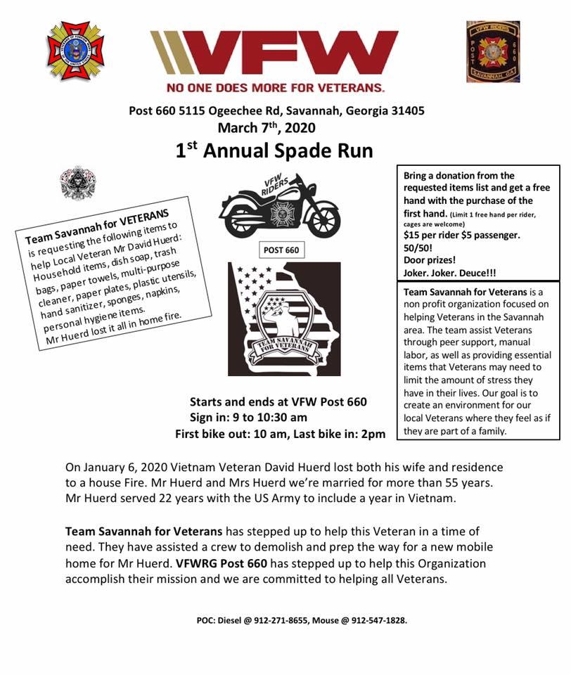VFW Riders - 1st Annual Spade Run @ VFW Post 660 | Savannah | Georgia | United States