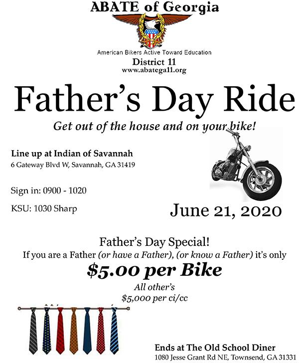 ABATE of Georgia, District 11 - Father's Day Ride @ Indian of Savannah | Savannah | Georgia | United States