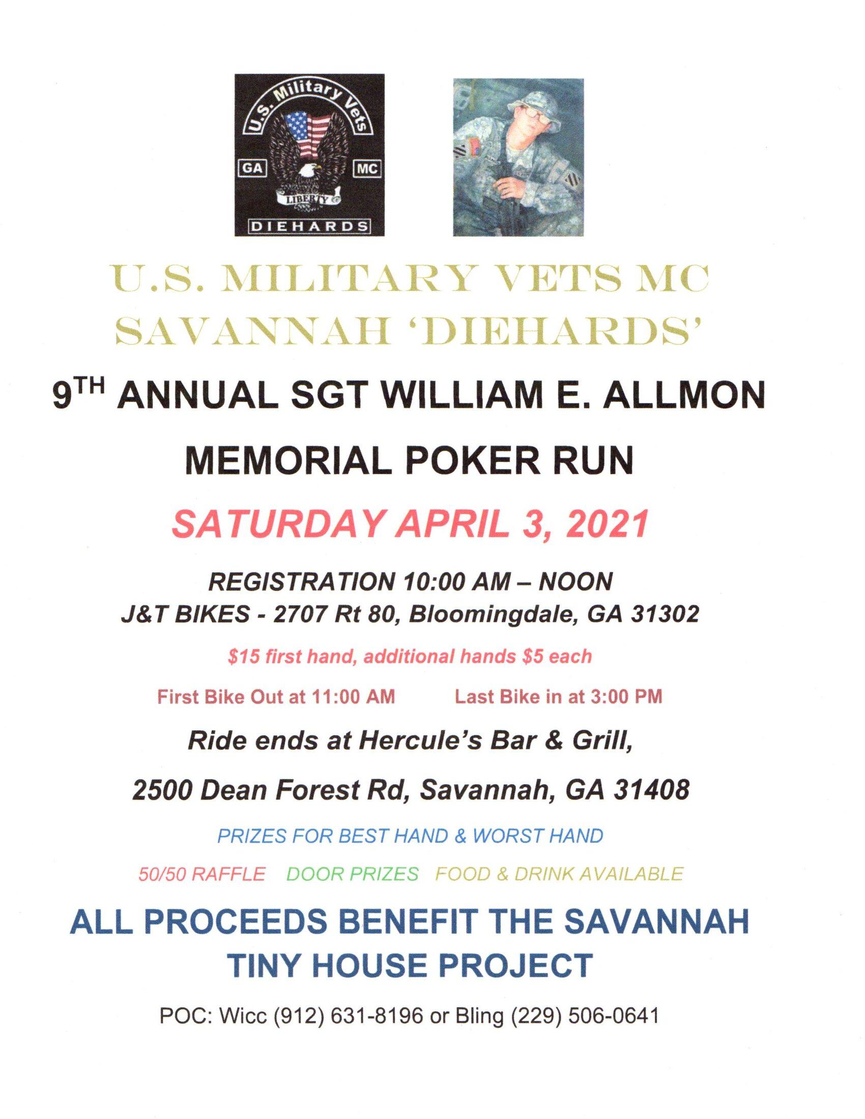 USMVMC SAVANNAH DIEHARDS - 9th Annual Sgt. William E. Allmon Memorial Poker Run @ J&T Bikes | Bloomingdale | Georgia | United States