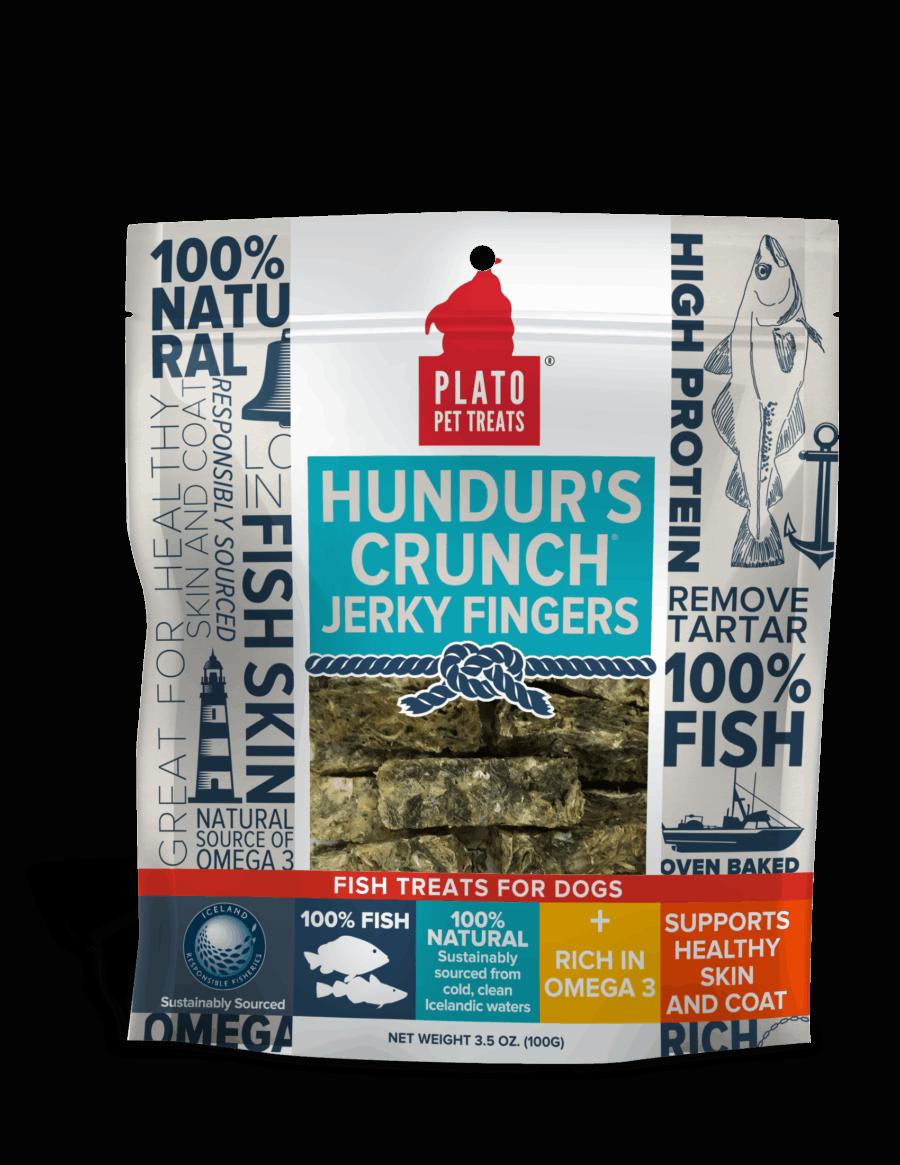 Plato Hundur's Crunch Jerky Fingers Fish Dog Treats 3.5 OZ