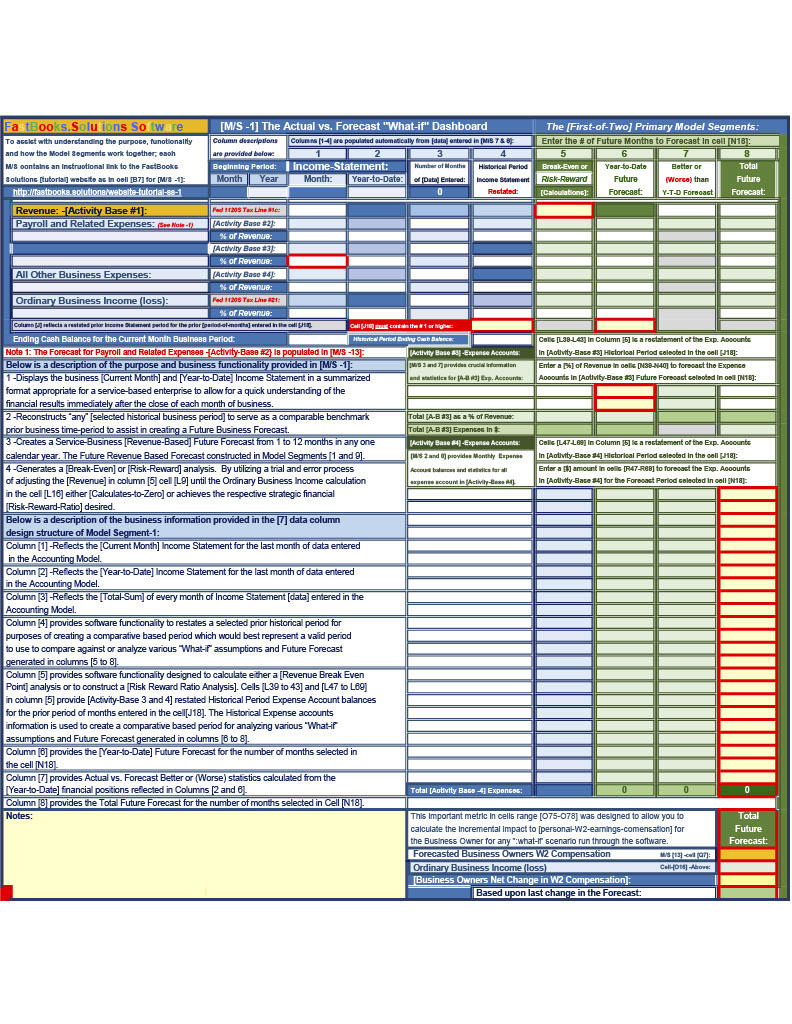 Model Segment 1 of 18 -FastBooks Solutions Microsoft Excel Service Business Accounting Model