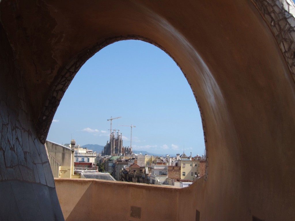 Viewing the Sagrada Familia from the rooftop of La Padrera.