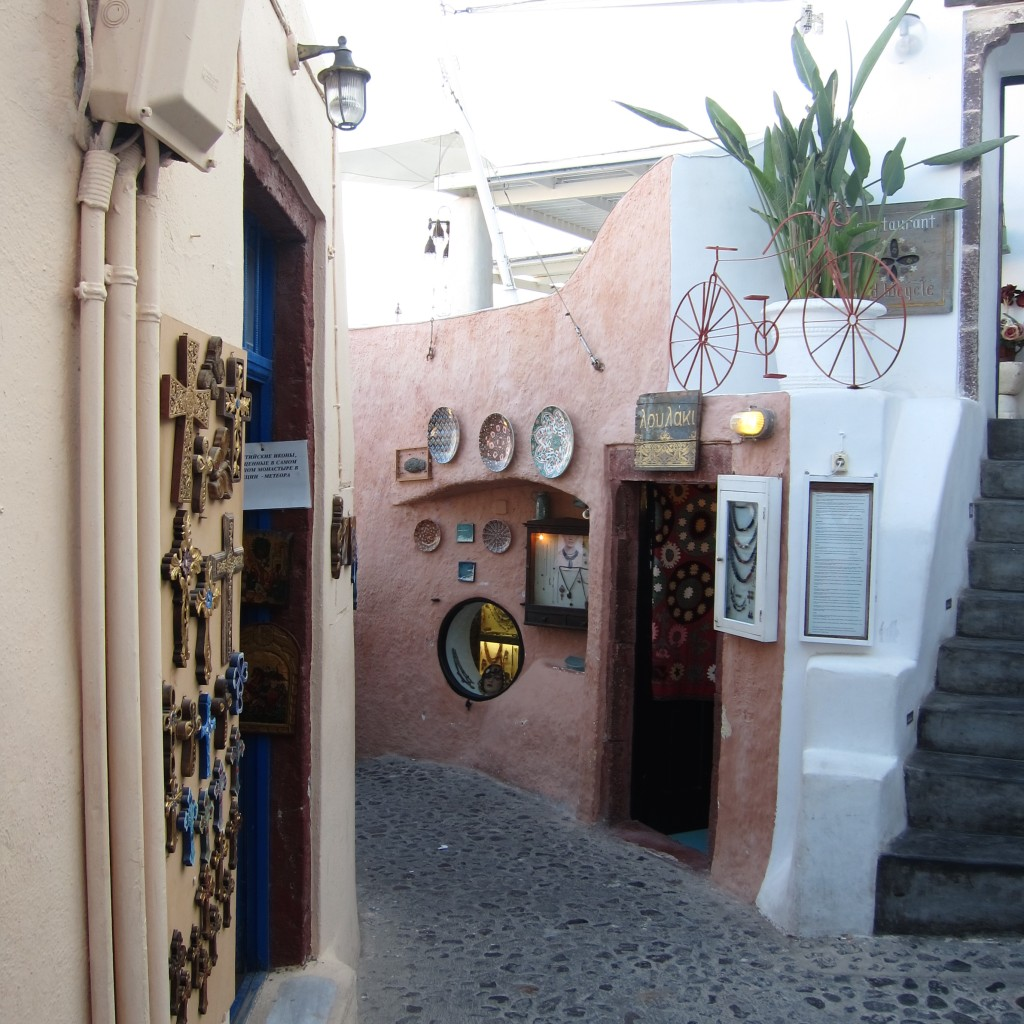 Shopping the streets of Oia
