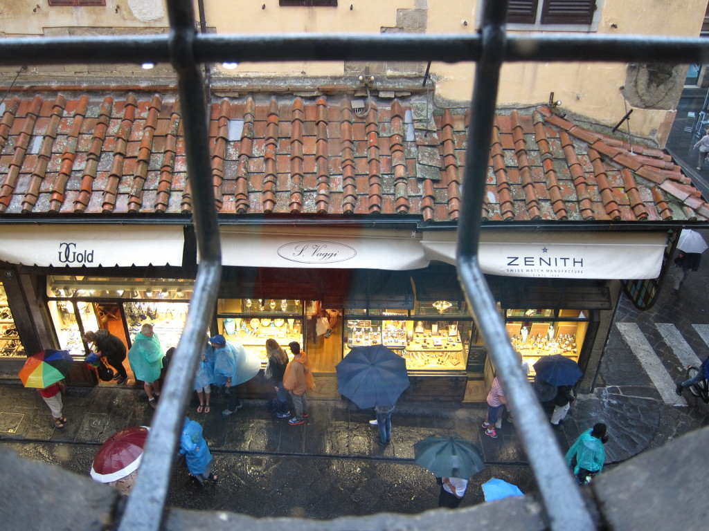 The Vasari corridor looks over the streets of Florence