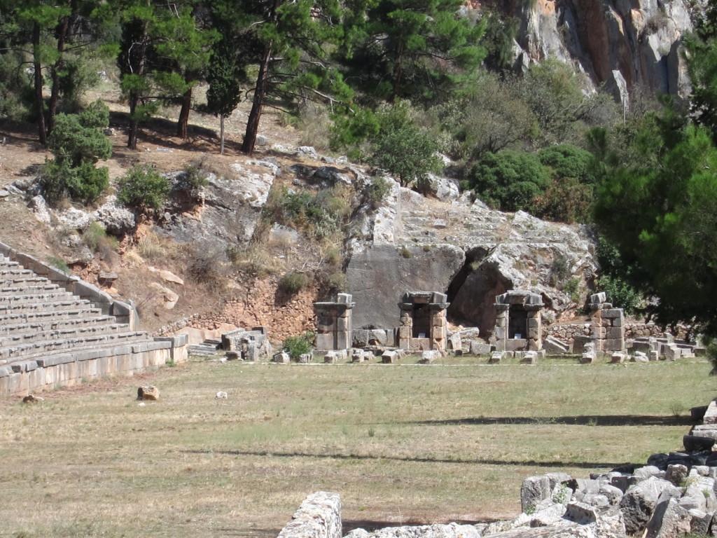 "The ""starting blocks"" at the Olympic stadium on Mt. Parnassus"