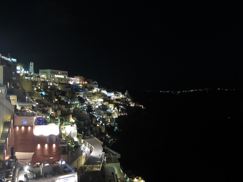 The view from our restaurant in Fira