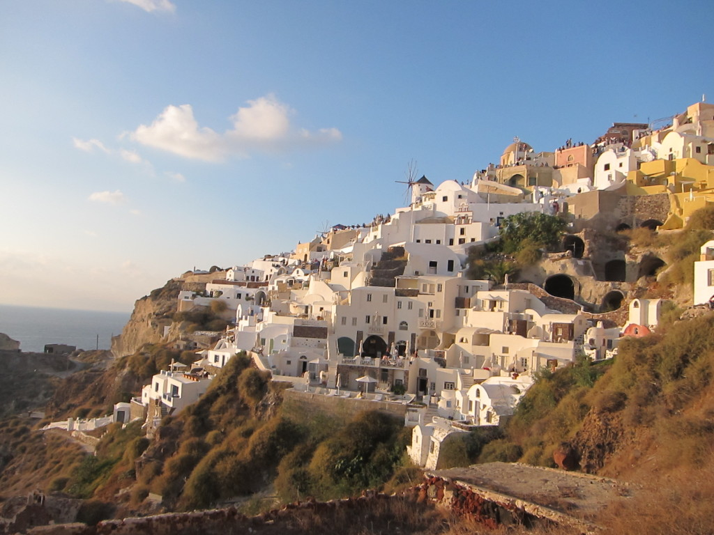 The hillside of Oia. Note the crowd at the top watching a Parkour tournament!