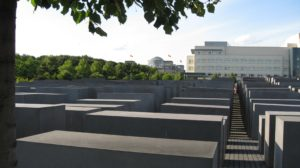 Sitting and reflecting at the holocaust memorial in Berlin