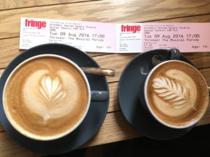 Enjoying a latte before a show at the Fringe