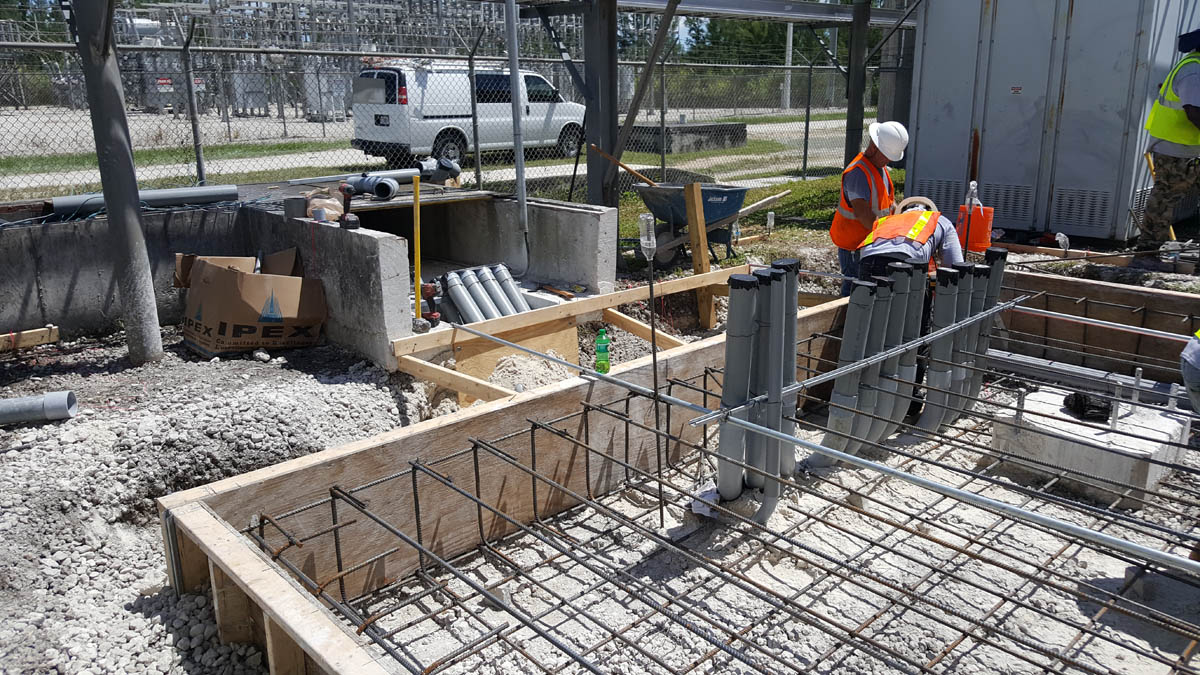 Preparation for pouring concrete pad for new outdoor switchgear
