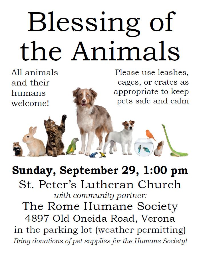 Blessing of the Animals @ St. Peter's Lutheran Church