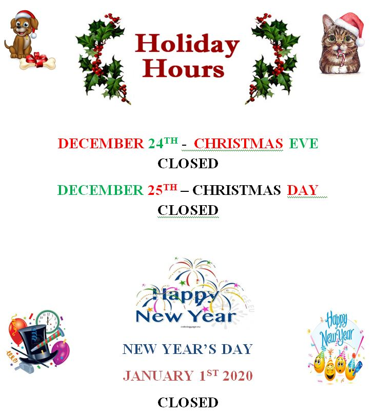 Closed Christmas Eve & Christmas Day