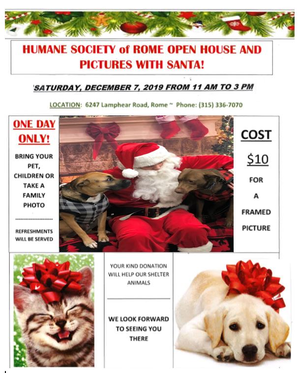 Pictures with Santa and Open House @ Humane Society of Rome