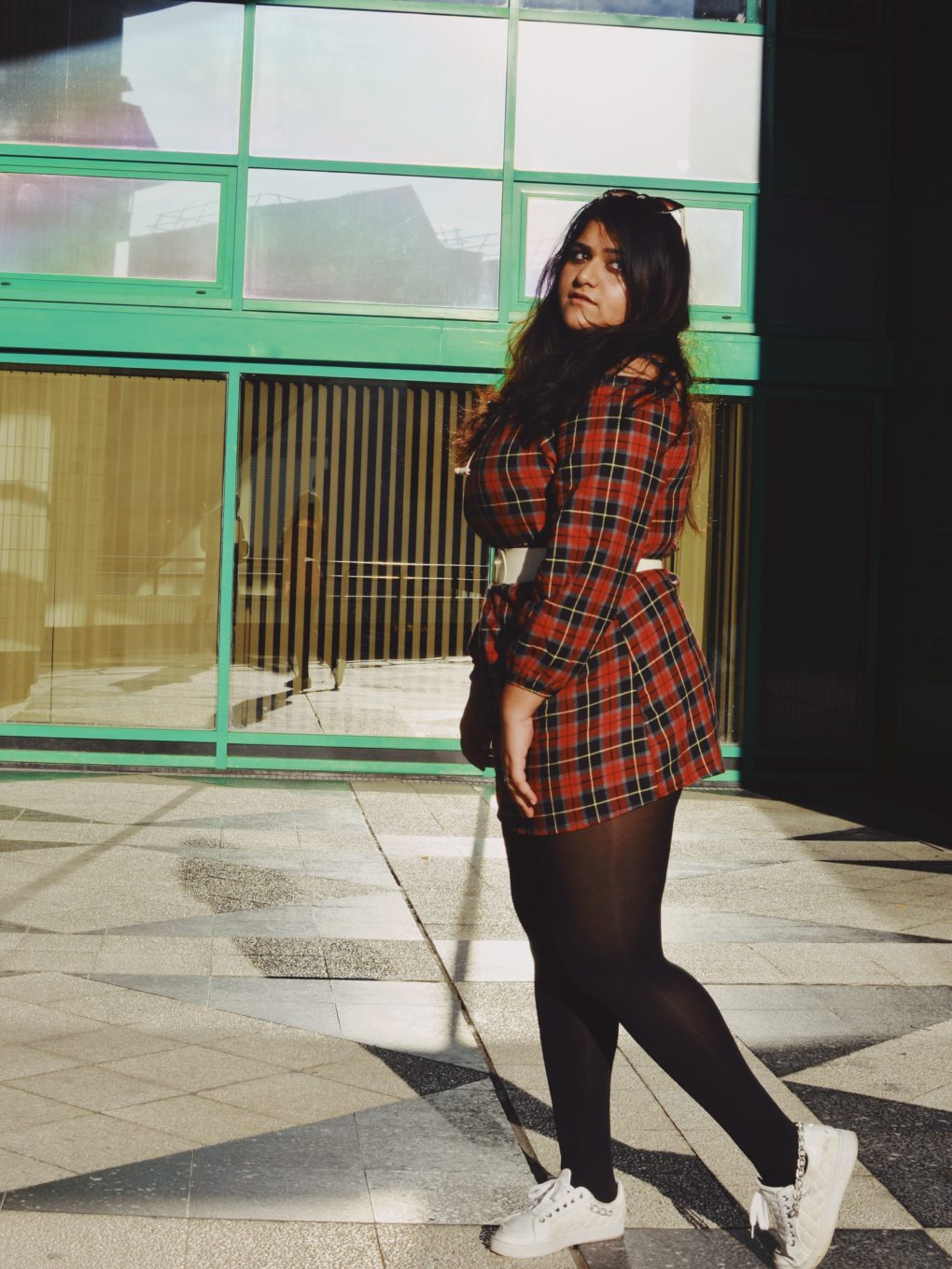 Red Tartan Bardot Long Sleeve Dress with Belt Casual Style