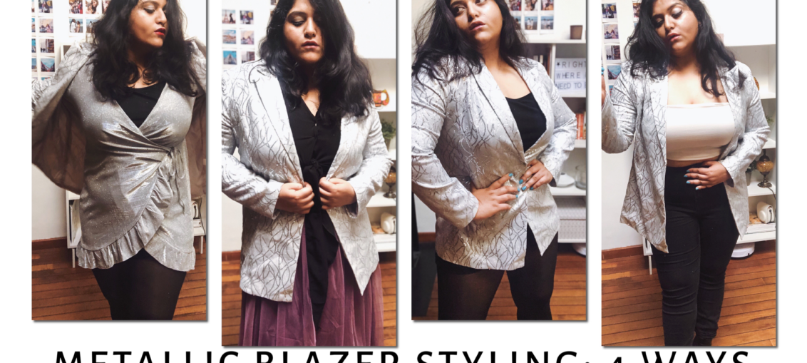 4 way: Silver Metallic Blazer Styling