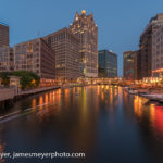 Kayaks on the Milwaukee River at Night