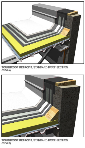 You can see the modern flat roofing process as represented in this graphic borrowed from ToughRoof flat roof repair website.