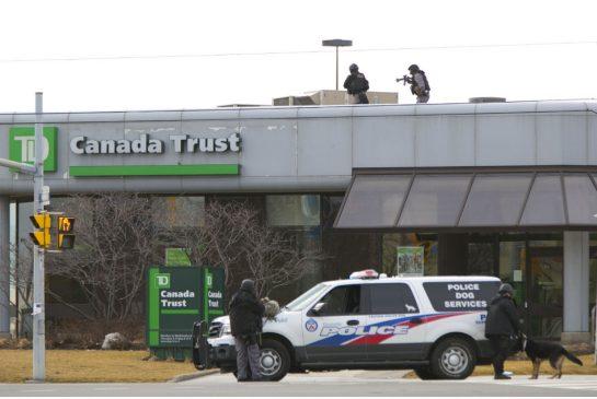 Bank heist through flat roof - photo courtesy of CTV news, 12 February 2016