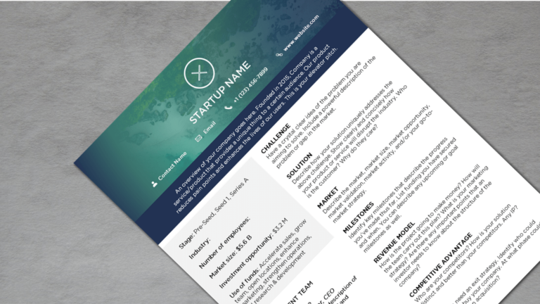 Startup One Pager