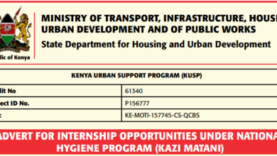 Photo of Internship Opportunities Under National Hygiene Program (Kazi Mtaani)