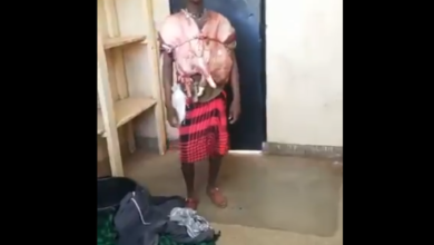 Photo of Suspect Nabbed Smuggling Illegal Meat Disguised As Clothes