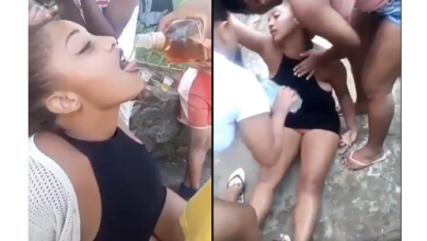 Photo of Watch As Slayqueen Left Fighting For Life After Taking Down A Whole Bottle Of Alcohol In Seconds