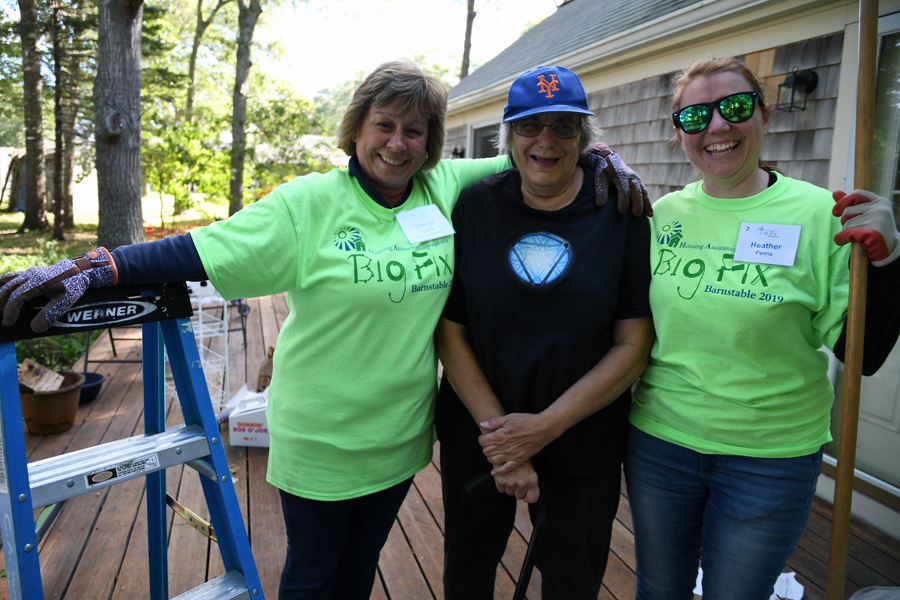 Big Fix-A-Thon Recipient Johanna Crosby with volunteers Cheryl Codair and Heather Ferris.