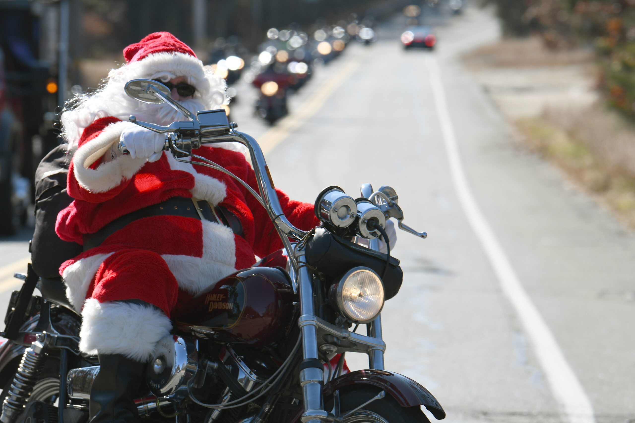 Santa leading the 20th Annual Chris Wetherbee Memorial Toy Run.