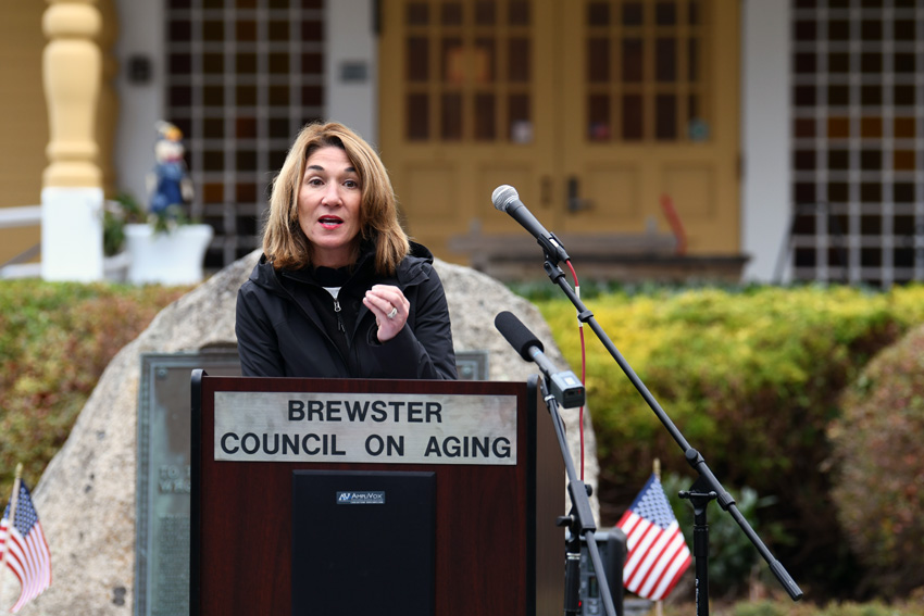 Lt. Governor Karyn Polito at the MassWorks Grant announcement for Brewster Woods.