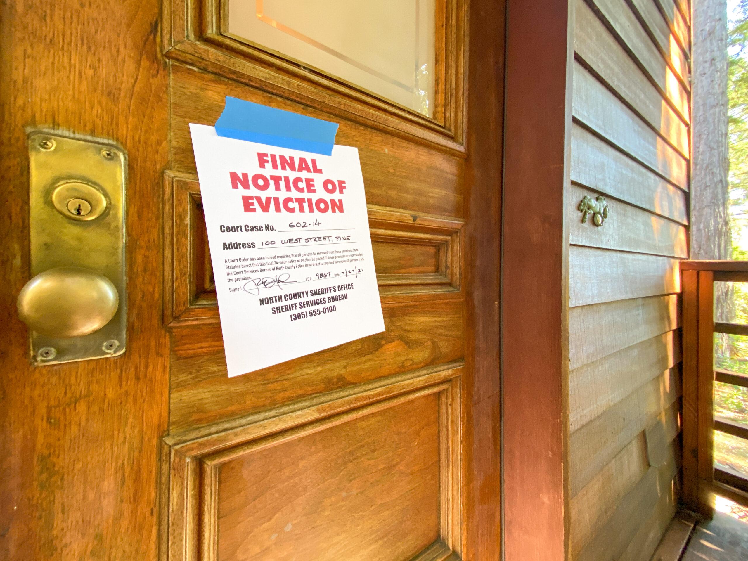 eviction notice on door