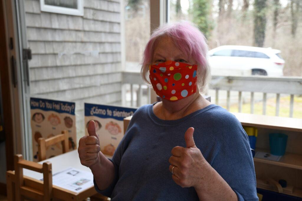 Dee VanLare after receiving her Covid-19 vaccination.