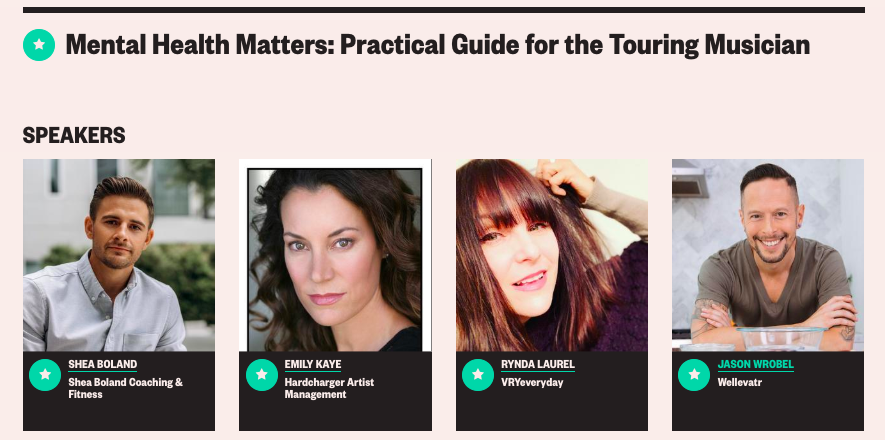 Rynda's panel at SXSW: Mental Health Matters: Practical Guide for the Touring Musician