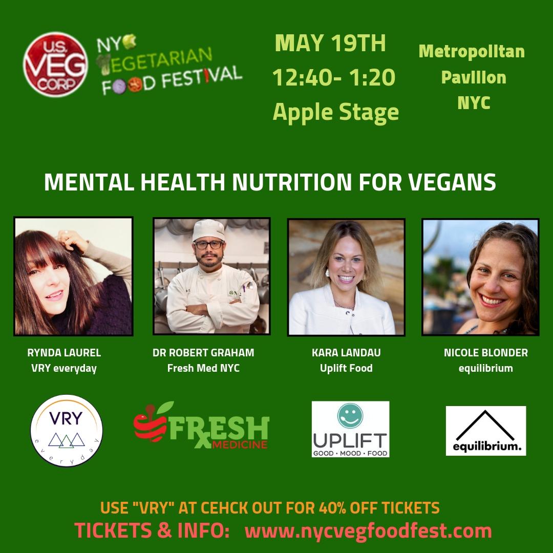 Rynda speaking at NYC VEG FEST on Mental Health Nutrition for Vegans. 5/19/19