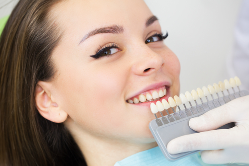 A girl getting porcelain dental veneers in Doylestown, PA
